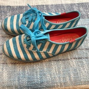 Keds Striped Sneakers Lace Up Shoes 6 Blue White